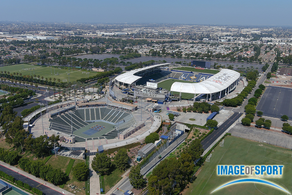 General overall aerial view of the Dignity Health Sports Park soccer and tennis stadiums, Friday, Sept. 25, 2020, in Carson, Calif. The facility, located on the campus of Cal State Dominguez Hills, opened in 2003 was formerly known as the Home Depot Center (2003-13) and StubHub Center (2013-18), It is the home of the LA Galaxy of the MLS and was the temporary home of the Los Angeles Chargers from 2017-19.