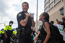 A protestor yells at an Atlanta Police Officer during a protest in Atlanta, GA, USA on Friday, May 29, 2020, amid outrage over the death of George Floyd in Minneapolis. Photo by Alyssa Pointer/Atlanta Journal Constitution/TNS/ABACAPRESS.COM