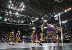 A general view of action between Wasps Netball and Loughborough Lightning during the Vitality Netball Superleague Super Ten match held at Arena Birmingham.