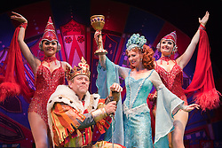 """© Licensed to London News Pictures. 26/07/2012. London, England. Jon Culshaw as King Arthur and Bonnie Langford as the Lady of the Lake. Monty Python's """"Spamalot"""" musical based on the film """"Monty Python and the Holy Grail"""" opens at the Harold Pinter Theatre in London. The role of King Arthur is shared between Jon Culshaw and Marcus Brigstocke. Photo credit: Bettina Strenske/LNP"""