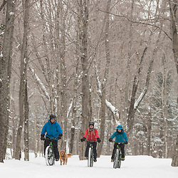 Three friends and their dog fat tire biking on a snowy winter day in New Hampshire's White Mountains.