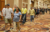 April 28.2015. Las Vegas NV.  Manny  Pacquiao fans make their way to the stageTuesday at the Mandalay Bay. Manny  Pacquiao  will be fighting Floyd Mayweather Jr. the long awaited fight in May 2nd at the MGM grand hotel.<br /> Photo by Gene Blevins/LA DailyNews