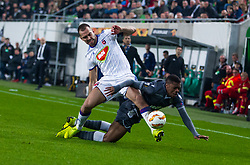 November 8, 2018 - Budapest, Hungary - Roland Juhasz (L) and Chuba Akpom (R) in action during the UEFA Europa League Group L match between MOL Vidi FC and FC PAOK at Groupama stadium on Nov 08, 2018 in Budapest, Hungary. (Credit Image: © Robert Szaniszlo/NurPhoto via ZUMA Press)
