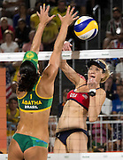 RIO DE JANEIRO, Aug. 17, 2016  <br /> <br /> Bums on show at the Volleyball at Olympics<br /> <br /> OLYMPICS BEACH VOLLEYBALL:  Kerri Walsh Jennings (USA)  ball is blocked by Agatha Rippel Bednarczuk (BRA) in the semifinals at Beach Volleyball Arena during the 2016 Rio Summer Olympics games.<br /> ©Exclusivepix Media
