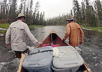 The Lewis Channel can be paddled for much of its length, but becomes shallow and too swift for paddling about a mile before Shoshone Lake. Boaters must pull or line their watercraft through this section, but Shoshone Lake is a worthwhile reward.
