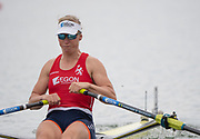 Plovdiv, Bulgaria, 10th May 2019, FISA, Rowing World Cup 1,  NED1 W1X, Lisa SCHEENAARD, at the start, of a heat of the Women's Single Sculls, © Peter SPURRIER,