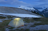 Backcountry camp on Hannegan Peak overlooking Ruth Mountain, North Cascades Washington