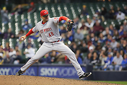 April 18, 2018 - Milwaukee, WI, U.S. - MILWAUKEE, WI - APRIL 18: Cincinnati Reds relief pitcher Jared Hughes (48) pieces during a baseball game between the Milwaukee Brewers and the Cincinnati Reds at Miller Park on April 18, 2018 in Milwaukee, WI. (Photo by Larry Radloff/Icon Sportswire) (Credit Image: © Larry Radloff/Icon SMI via ZUMA Press)
