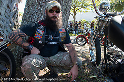 Dave Masaitis at the Chopper Time Old School Bike Show at Willy's Tropical Tattoo during the Biketoberfest Rally. Ormond Beach, FL, USA. October 15, 2015.  Photography ©2015 Michael Lichter.