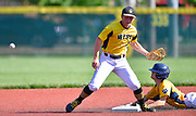 The throw gets away from Joliet West infielder Matt Stariha (left) as OFallon baserunner Connor Patton slides safely into second base. OFallon played Joliet West in a Class 4A baseball sectional championship game at Blazier Field in OFallon, IL on Friday June 11, 2021. Tim Vizer/Special to STLhighschoolsports.com.