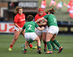 Wales' Carys Phillips on the attack for Wales<br /> Wales Women v Ireland Women<br /> Guinness Six Nations 2019<br /> Cardiff Arms Park<br /> <br /> Photographer Mike Jones/Replay Images<br /> <br /> Guinness Six Nations 2019<br /> Cardiff Arms Park<br /> Cardiff.<br /> 17th March 2019<br /> <br /> World Copyright © Replay Images . All rights reserved. info@replayimages.co.uk - http://replayimages.co.uk