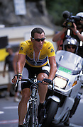 Lance Armstrong powers up Alpe d'huez.
