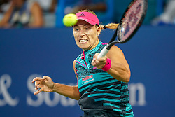 August 15, 2018 - Cincinnati, OH, U.S. - CINCINNATI, OH - AUGUST 15: Angelique Kerber (GER) hits a forehand shot during the Western & Southern Open at the Lindner Family Tennis Center in Mason, Ohio on August 15, 2018. (Photo by Adam Lacy/Icon Sportswire) (Credit Image: © Adam Lacy/Icon SMI via ZUMA Press)