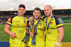 Mike Williams, Ellis Genge and Lachlan McCaffrey of Leicester Tigers with the Anglo-Welsh Cup trophy - Mandatory byline: Patrick Khachfe/JMP - 07966 386802 - 19/03/2017 - RUGBY UNION - The Twickenham Stoop - London, England - Exeter Chiefs v Leicester Tigers - Anglo-Welsh Cup Final.