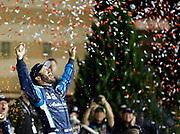 at the NASCAR Monster Cup auto race at Kansas Speedway in Kansas City, Kan., Saturday, May 13, 2017. (AP Photo/Colin E. Braley)
