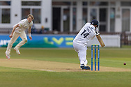 James Vince  drives Alex Evans for 4 during Day 2 of the LV= Insurance County Championship match between Leicestershire County Cricket Club and Hampshire County Cricket Club at the Uptonsteel County Ground, Leicester, United Kingdom on 9 April 2021.