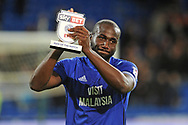 Cardiff City's man of the match and goalscorer Sol Bamba applauds the fans that had been singing his name at the end of the game. EFL Skybet championship match, Cardiff city v Hull city at the Cardiff city stadium in Cardiff, South Wales on Saturday 16th December 2017.<br /> pic by Carl Robertson, Andrew Orchard sports photography.