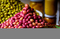 Olives for sale at a stall in the medina in Marrakech, Morocco, North Africa<br /> <br /> (c) Andrew Wilson | Edinburgh Elite media