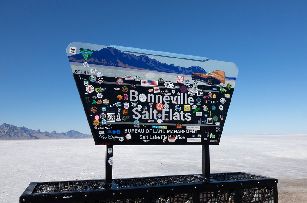 Bonneville Salt Flats Raceway sign, Utah, USA