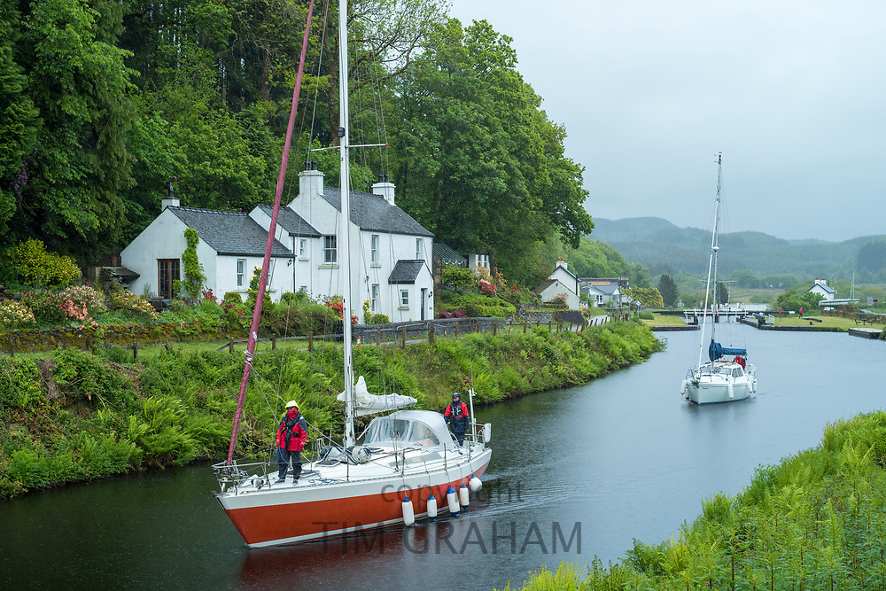 Yachts on Crinan Canal at Cairbaan near Lochgilphead, Argyll and Bute, Scotland