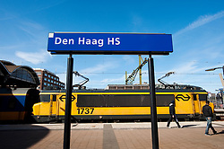 Train at Den Haag HS ( Hollands Spoor) railway station in The Hague, The Netherlands