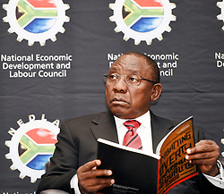 Deputy President Cyril Ramaphosa today addressed the Annual NEDLAC Summit at the Birchwood Hotel, Boksburg. The Summit, organised under the theme, Rapid Growth to create decent jobs, is attended by top business, labour, government and community leaders,  09 September 2016. Siyasanga Mbambani....