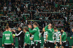 April 18, 2018 - Lisbon, Portugal - Sporting's supporters celebrate with the players the victory in the Portugal Cup semifinal second leg football match Sporting CP vs FC Porto at the Alvalade stadium in Lisbon on April 18, 2018. (Credit Image: © Pedro Fiuza via ZUMA Wire)