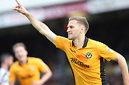 GOAL Mickey Demetriou celebrates his goal 1-0during the EFL Sky Bet League 2 match between Newport County and Notts County at Rodney Parade, Newport, Wales on 6 May 2017. Photo by Daniel Youngs.