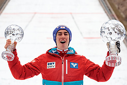 26.03.2017, Planica, Ratece, SLO, FIS Weltcup Ski Sprung, Planica, Skiflug, Herren, Siegerehrung, im Bild Gesamtweltcup Sieger Stefan Kraft (AUT) mit den Kristallkugeln für den Skiflug- und den Gesamtweltcupsieg // overall world cup winner Stefan Kraft of Austria with the crystal globe for the Ski Flying and Ski Jumping World Cup during award winner ceremony after the Ski Flying Hill Individual competition of the FIS Ski Jumping World Cup Final 2017 at Planica in Ratece, Slovenia on 2017/03/26. EXPA Pictures © 2017, PhotoCredit: EXPA/ JFK