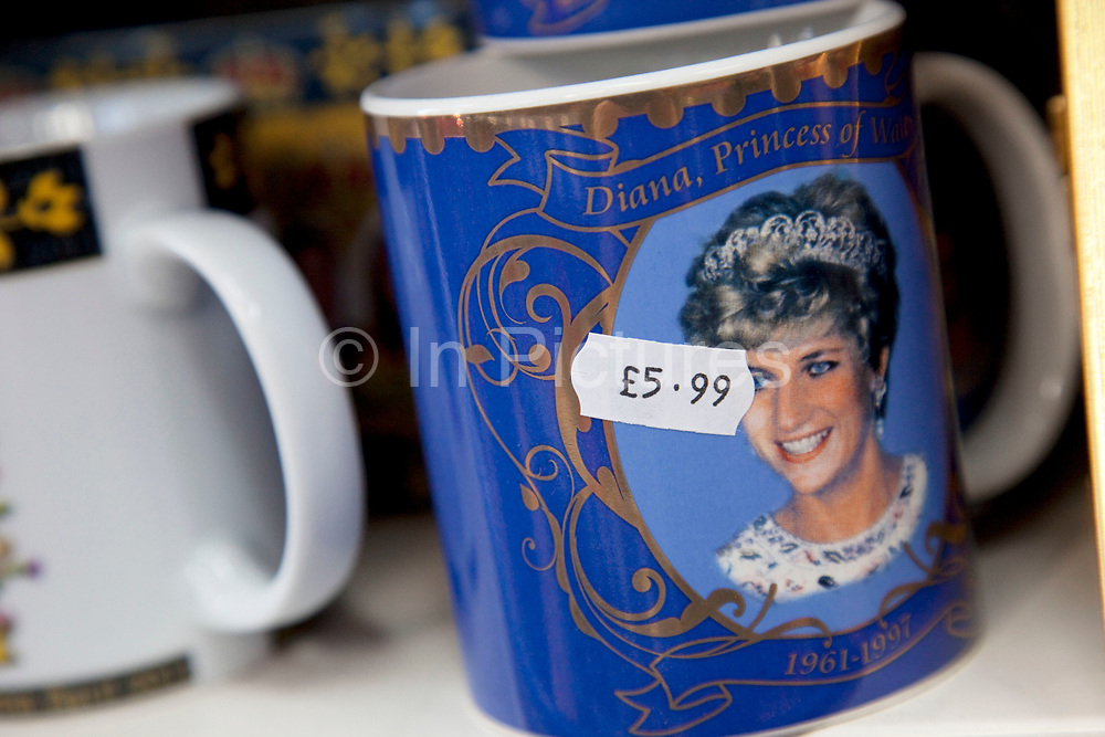 Souvenirs for the Royal Wedding include the image of Pricess Diana. This type of Royal event always results in cheap souvenir production, including plates, mugs, pens, glassware, t-shirts, tea towels and even ash trays.