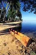 Outrigger canoe, Walung Village, Kosrae, FSM, Micronesia<br />
