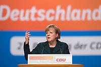 09 DEC 2014, KOELN/GERMANY:<br /> Angela Merkel, CDU, Bundeskanzlerin, haelt ihre Rede als Parteivorsitzende der CDU, CDU Bundesparteitag, Messe Koeln<br /> IMAGE: 20141209-01-041<br /> KEYWORDS: Party Congress