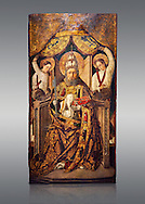 Gothic Catalan altarpiece of Saint Peter enthroned, by Roderic d'Orsona of Valencia, circa 1475, tempera and gold leaf on wood.  National Museum of Catalan Art, Barcelona, Spain, inv no: MNAC 15816. .<br /> <br /> If you prefer you can also buy from our ALAMY PHOTO LIBRARY  Collection visit : https://www.alamy.com/portfolio/paul-williams-funkystock/gothic-art-antiquities.html  Type -     MANAC    - into the LOWER SEARCH WITHIN GALLERY box. Refine search by adding background colour, place, museum etc<br /> <br /> Visit our MEDIEVAL GOTHIC ART PHOTO COLLECTIONS for more   photos  to download or buy as prints https://funkystock.photoshelter.com/gallery-collection/Medieval-Gothic-Art-Antiquities-Historic-Sites-Pictures-Images-of/C0000gZ8POl_DCqE