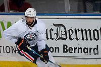 KELOWNA, BC - SEPTEMBER 23:  Jujhar Khaira #16 of the Edmonton Oilers practices at Prospera Place on September 23, 2019 in Kelowna, Canada. (Photo by Marissa Baecker/Shoot the Breeze)