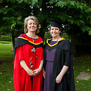 """25.08.2016          <br />  Faculty of Business, Kemmy Business School graduations at the University of Limerick today. <br /> <br /> Attending the conferring was Master of Science in Advanced Healthcare Practice  graduate, Marie-Louise Chapman with Dr. Rosie Gowran, Dept. Clinical Therapies. Picture: Alan Place.<br /> <br /> <br /> As the University of Limerick commences four days of conferring ceremonies which will see 2568 students graduate, including 50 PhD graduates, UL President, Professor Don Barry highlighted the continued demand for UL graduates by employers; """"Traditionally UL's Graduate Employment figures trend well above the national average. Despite the challenging environment, UL's graduate employment rate for 2015 primary degree-holders is now 14% higher than the HEA's most recently-available national average figure which is 58% for 2014"""". The survey of UL's 2015 graduates showed that 92% are either employed or pursuing further study."""" Picture: Alan Place"""
