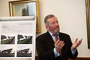 Repro FREE :   Dr. Kevin Heanue, Chairman of Connemara West at the launch of Connemara West's  ambitious International Residential Education Centre at a briefing in the Hotel Meyrick, Galway . The Centre, in the village of Tullycross, County Galway will consist of a state-of-art newly built education hub with a 50 seat auditorium; a wifi-enabled library; group study/breakout rooms; video conferencing facilities; meeting rooms; a conference room; community meeting rooms and a coffee dock. <br /> The accommodation part of the Centre will be made up of the renovated iconic 9 thatched cottages in Tullycross village, Connemara West's first project in 1973, and will hold up to 40 students and faculty.<br /> Photo:Andrew Downes, xposure