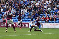 John Terry, the Aston Villa captain (l) looks on as Nathaniel Mendez-Laing of Cardiff city © scores his teams 3rd goal.  EFL Skybet championship match, Cardiff city v Aston Villa at the Cardiff City Stadium in Cardiff, South Wales on Saturday 12th August 2017.<br /> pic by Andrew Orchard, Andrew Orchard sports photography.
