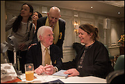 BRYAN SEWELL; Naim Attallah; FIONA HUGHES, , Fortnum and Mason and Quartet books host a celebration for the publication of  The White Umbrella by Brian Sewell. Illustrated by Sally Ann Lasson. Fortnum and Mason. Piccadilly. London. 3 March 2015.