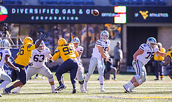 Oct 31, 2020; Morgantown, West Virginia, USA; Kansas State Wildcats quarterback Will Howard (15) throws a pass during the third quarter against the West Virginia Mountaineers at Mountaineer Field at Milan Puskar Stadium. Mandatory Credit: Ben Queen-USA TODAY Sports