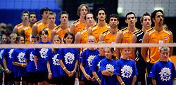 18-05-2008 VOLLEYBAL: EK KWALIFICATIE NEDERLAND - SLOVENIE: ROTTERDAM<br /> Nederland wint ook de laatste wedstrijd met 3-0 - Line up met oa Jeroen Trommel, Jelte Maan, Nico Freriks, Yannick van Harskamp, Robert Horstink, Kristian van der Wel en Kay van Dijk<br /> ©2008-WWW.FOTOHOOGENDOORN.NL