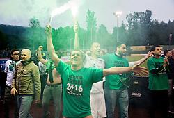 Darijan Matic #8 of NK Olimpija Ljubljana, Dejan Kelhar #4 of NK Olimpija Ljubljana  celebrate after winning during football match between NK Rudar and NK Olimpija Ljubljana in Round #35 of Prva liga Telekom Slovenije 2015/16, on May 14, 2016, in Stadium Ob jezeru, Velenje, Slovenia. NK Olimpija with this victory became Slovenian National Champion 2016. Photo by Vid Ponikvar / Sportida