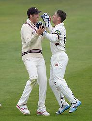 Somerset's Luke Ronchi celebrates with Somerset's Jim Allenby  - Mandatory byline: Alex James/JMP - 07966386802 - 09/09/2015 - FOOTBALL -  - The County Ground - Taunton  - Somerset v Hampshire - LV CC -
