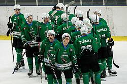 Ales Music of SZ Olimpija, Nejc Brus of SZ Olimpija after winning during ice hockey match between HK SZ Olimpija and WSV Sterzing Broncos Weihenstephan (ITA) in Round #12 of AHL - Alps Hockey League 2018/19, on October 30, 2018, in Hala Tivoli, Ljubljana, Slovenia. Photo by Vid Ponikvar / Sportida