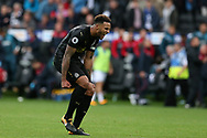 Jamaal Lascelles of Newcastle Utd celebrates at the final whistle after his goal gave them a 1-0 victory. Premier league match, Swansea city v Newcastle Utd at the Liberty Stadium in Swansea, South Wales on Sunday 10th September 2017.<br /> pic by  Andrew Orchard, Andrew Orchard sports photography.