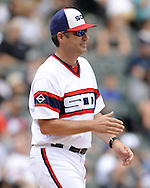 CHICAGO - AUGUST 21:  Manager Robin Ventura #23 of the Chicago White Sox makes a pitching change during the game against the Oakland Athletics on August 21, 2016 at U.S. Cellular Field in Chicago, Illinois.  The White Sox defeated the Athletics 4-2.  (Photo by Ron Vesely)   Subject:   Robin Ventura