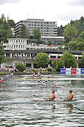Bled, SLOVENIA,  General Views, Start area, overlooked by the town, Hotel Golf, on the second day, FISA World Cup, Bled. Held on Lake Bled.  Saturday  29/05/2010  [Mandatory Credit Peter Spurrier/ Intersport Images]