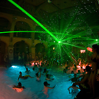 Modern music and disco lights turn Budapest's most ancient turkish baths the Rudas  into a pulsing party area in the hands of the organizers of Cinetrip SPArty.