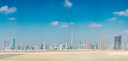 Daytime skyline of Dubai and Burj Khalifa in United Arab Emirates