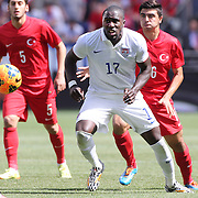 Jozy Altidore, USA, in action during the US Men's National Team Vs Turkey friendly match at Red Bull Arena.  The game was part of the USA teams three-game send-off series in preparation for the 2014 FIFA World Cup in Brazil. Red Bull Arena, Harrison, New Jersey. USA. 1st June 2014. Photo Tim Clayton