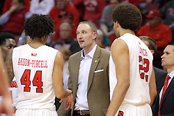 18 March 2015:   DeVaughn Akoon-Purcell, Dan Muller, and Reggie Lynch during an NIT men's basketball game between the Green Bay Phoenix and the Illinois State Redbirds at Redbird Arena in Normal Illinois